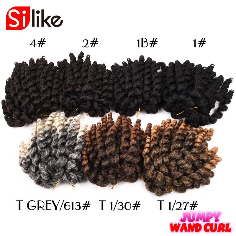 Silike Jumpy Wand Curl 8inch 80g Jamaican Bounce Crochet Hair 22 - Syntetiskt hår - Foto 2