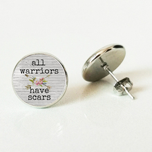 All WARRI have SCARS CHARM Stud earring,gift for her,Cancer survivor,Warrior charm,with arrow charm warri city