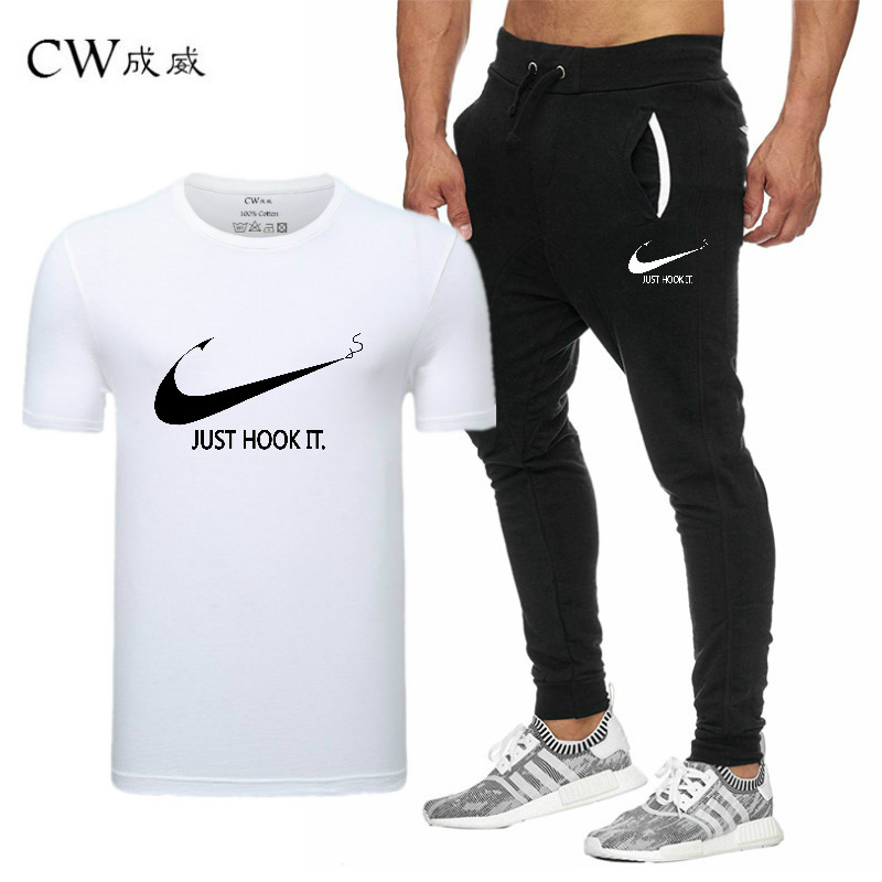 HTB1mKmqVxTpK1RjSZFMq6zG VXag 2019 Quality Men T Shirt Sets+pants men Brand clothing Two piece suit tracksuit Fashion Casual Tshirts Gyms Workout Fitness Sets