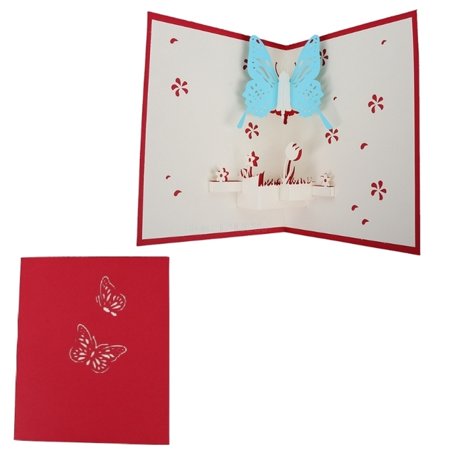 3d Pop Up Paper Cut Greeting Card Postcard Butterfly Birthday