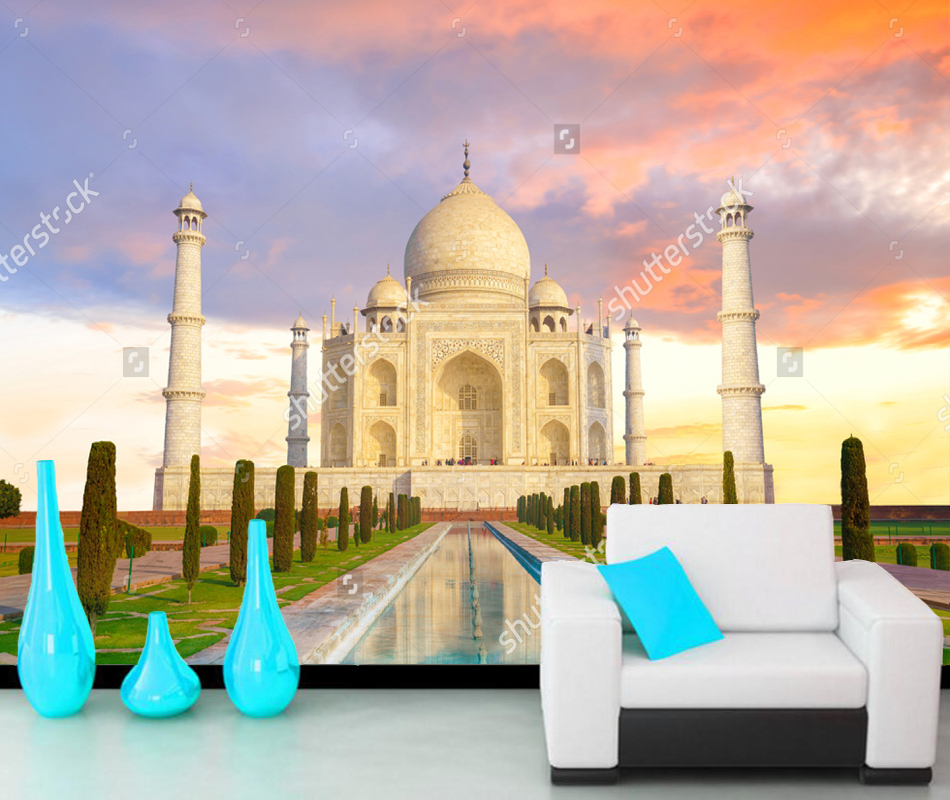 Custom City Wallpaper,Taj Mahal in Agra India sunset,Photo Mural For Living Room Sofa Background papel de parede PVC civil military relations in india