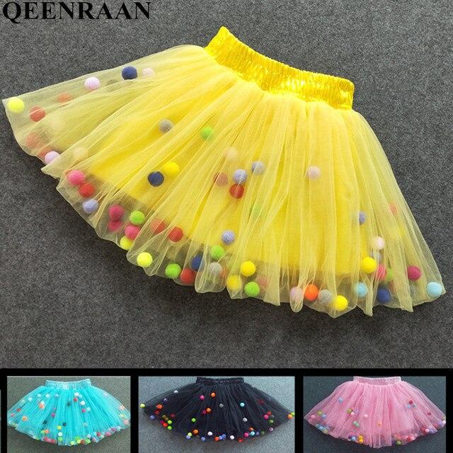 New Baby Cô Gái Tutu Váy Trẻ Em Đàn Hồi Eo Pettiskirt Cô Gái Công Chúa Vải Tuyn Váy Đầy Màu Sắc Pompom mini Váy Trẻ Em Quần Áo