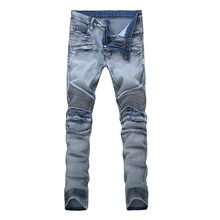 Famous Brand Skinny Biker Jeans Men Vintage Style Runway Denim Overalls Distressed Ripped Stretch Pleated Slim Straight Jeans