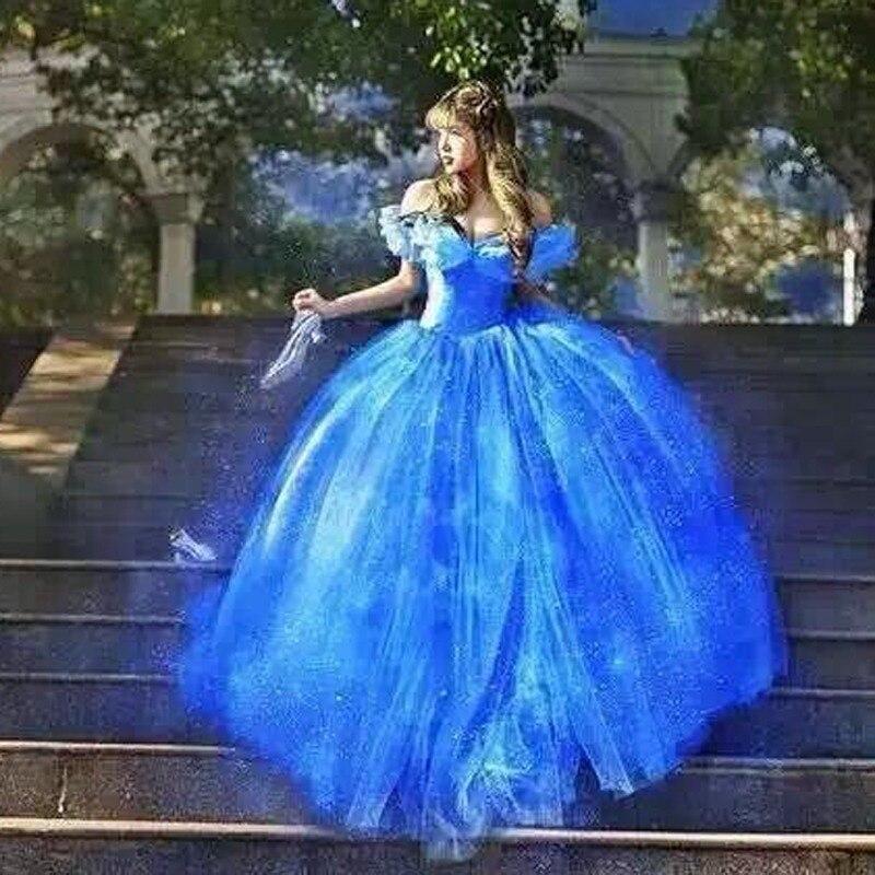 Фильм Скарлетт Сэнди принцесса платье Золушки косплей костюм Голубое нарядное платье с открытыми плечами платья для взрослых девочек