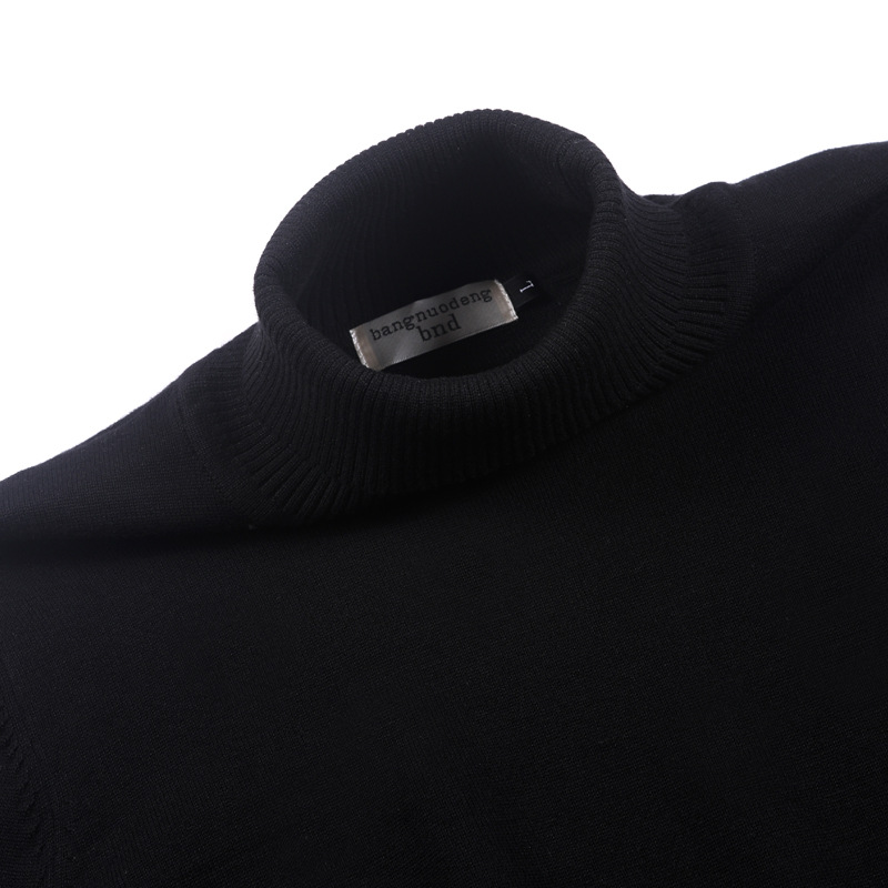 Image 4 - 100% cotton sweater mens 2018 winter turtleneck Long sleeve 