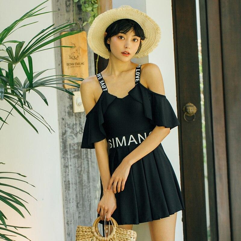 Black Letter Swimwear Dress Swimming Suit for Women One Piece Swimsuit 2018 Summer Beach Wear Push Up Bathing Suits Swim