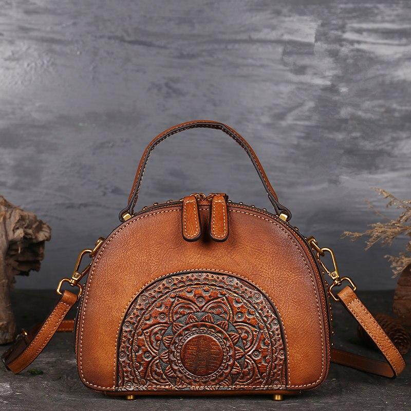 Nesitu Vintage Brown Green Red Genuine Leather Shell Shape Small Women Handbags Girl Messenger Bags Lady