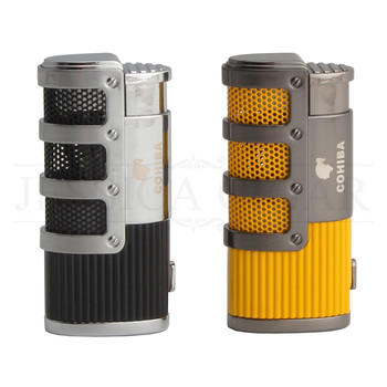 COHIBA Gadgets High-end Smoking Windproof Cigar Torch Lighters Refillable Butane Gas Fire Flame Built-in Punch Cigarette Lighter