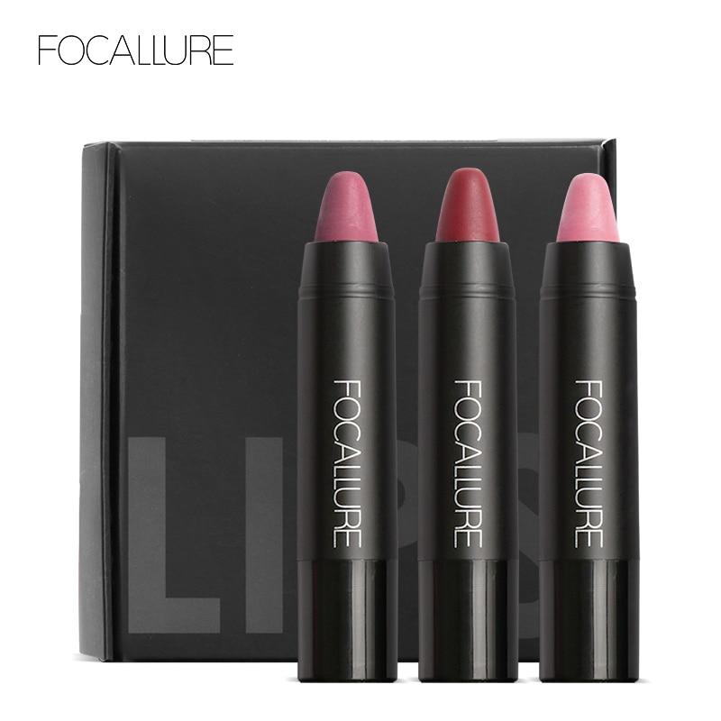FOCALLURE Pro Matte Waterproof Lipstick With Long Lasting Effect Powdery Matte Soft Pencil Lipstick Set