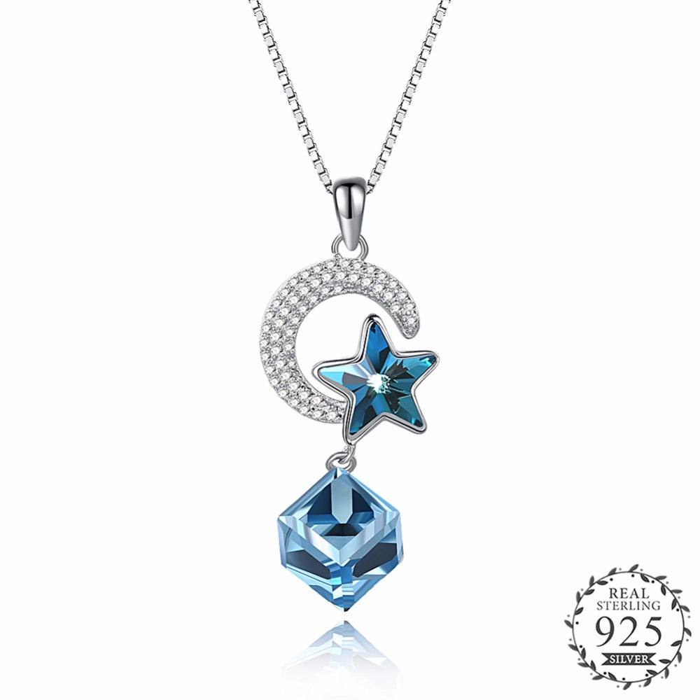 Classic Moon Star Pendant Necklace with Star & Cube Blue Crystal Real 925 Sterling Silver Sliding Pendant Necklace Jewelry N256. concise and cute bronze star pendant necklace
