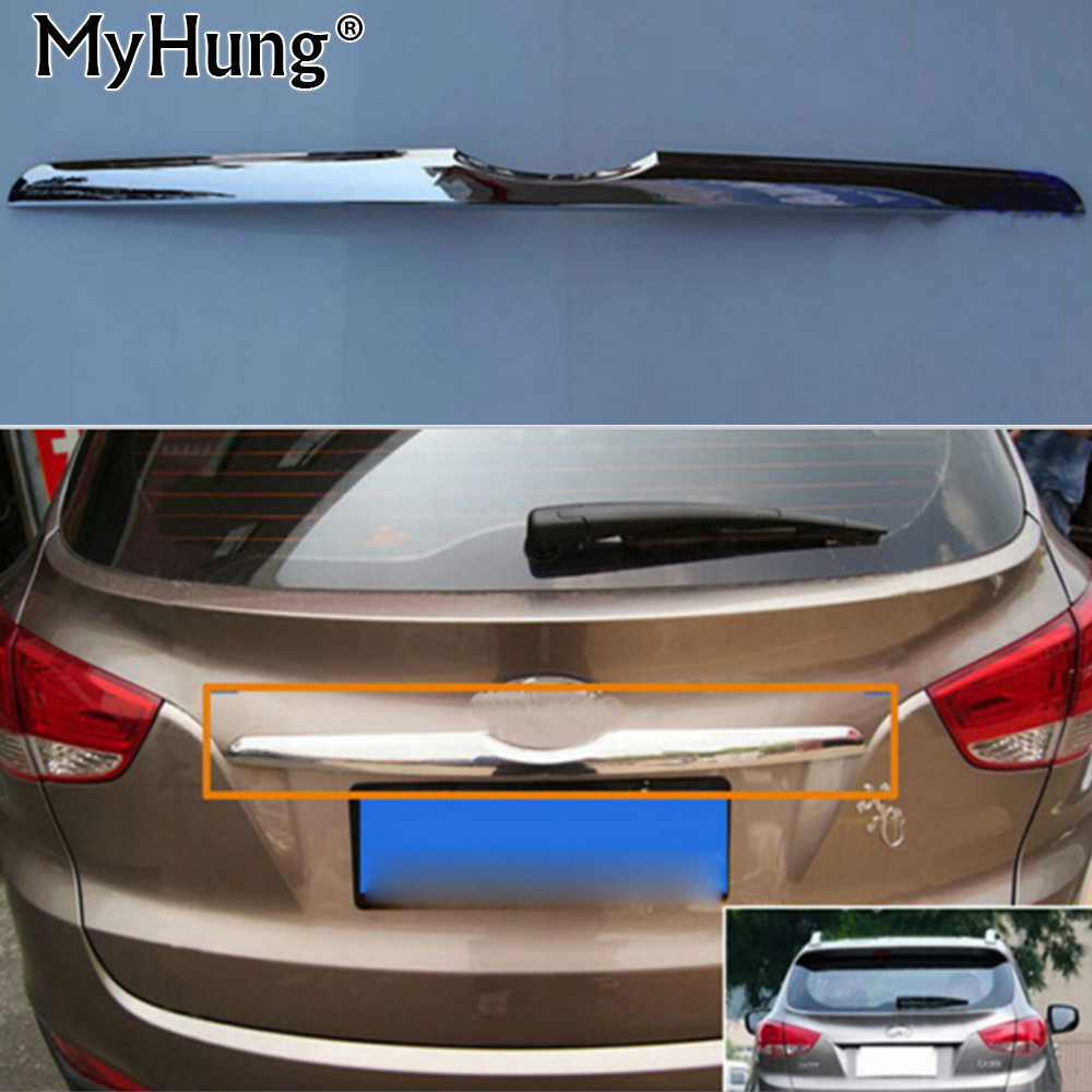 Rear trunk trim for hyundai IX35 2010-2013 with ABS chrome moulding car exterior accessories car styling a&t trim car styling aluminum fuel brake foot rest at pedals pads fit hyundai tucson ix35 2010 2013 car accessories