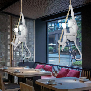 Image 3 - 現代の樹脂猿ロフトヴィンテージ麻ロープホームダイニングルームバーカフェレトロぶら下げ照明ランプぶら下げランプ