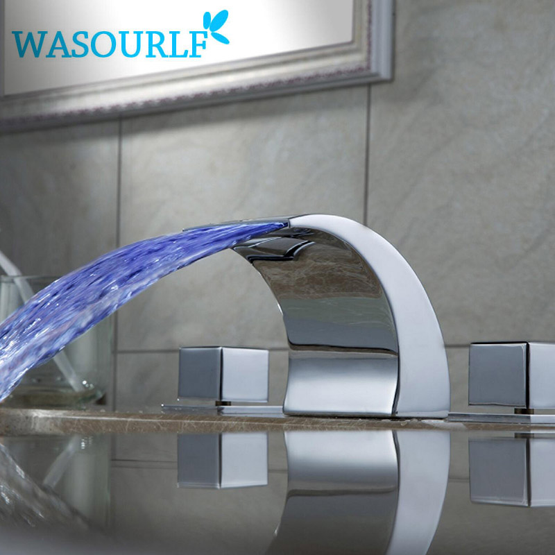WASOURLF LED Bathroom brass water faucet basin TWO handle mixer hot and cold tap modern design high quality micoe hot and cold water basin faucet mixer single handle single hole modern style chrome tap square multi function m hc203