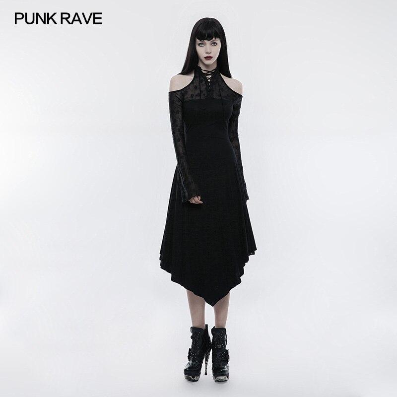 PUNK RAVE Women Dress Gothic Black Lace Spliced Off Shoulder Dress Victorian Vintage Long Sleeve Evening