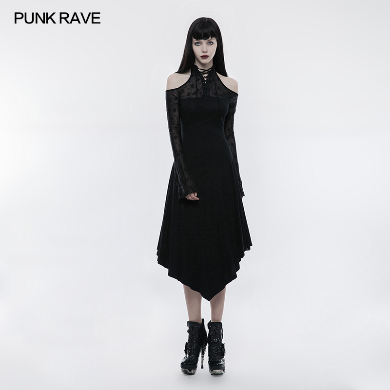 Punk Rave Women Dress Gothic Black Lace Spliced Off Shoulder Dress Victorian Vintage Long Sleeve Evening Party Formal Dress In Dresses From Womens