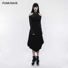 PUNK RAVE Women Dress Gothic Black Lace Spliced Off Shoulder Victorian Vintage Long Sleeve Evening Party Formal