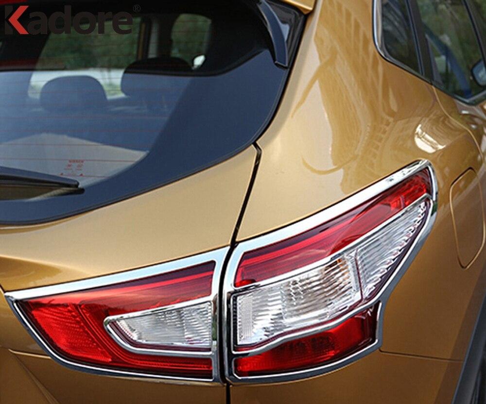 Pour Nissan Qashqai 2015 2016 Chrome arrière lumière lampe couverture garniture queue lumière autocollant cadre bâches de voiture accessoires - 3