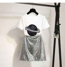 2019 Fashion Women Cotton T-Shirts Tops Pencil Mini Skirt 2 Piece Sets O-Neck Summer Streetwear Sequins Skirt Suits black fashion sequins embellished mini skirt