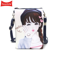 Soomile 2018 New Cute girl Cartoon Mini shoulder Bags Young crossbody bag for Children Kids