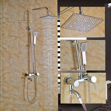 Single Handle 8 LED Shower Faucet System Chrome Brass Tub Mixer Tap with Showr Heads