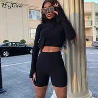 Hugcitar long sleeve zipper high neck elastic sexy crop tops shorts 2-pieces 2018 summer autumn women fashion casual sports sets