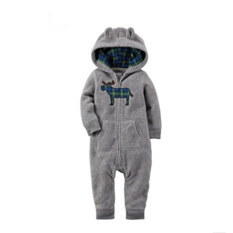 Romper Hooded SleepwearBaby Boy Clothes Baby Rompers Fleece Newborn Clothing 2017 Autumn&Winter One Piece baby girl andboys clot newborn baby boy rompers autumn winter rabbit long sleeve boy clothes jumpsuits baby girl romper toddler overalls clothing