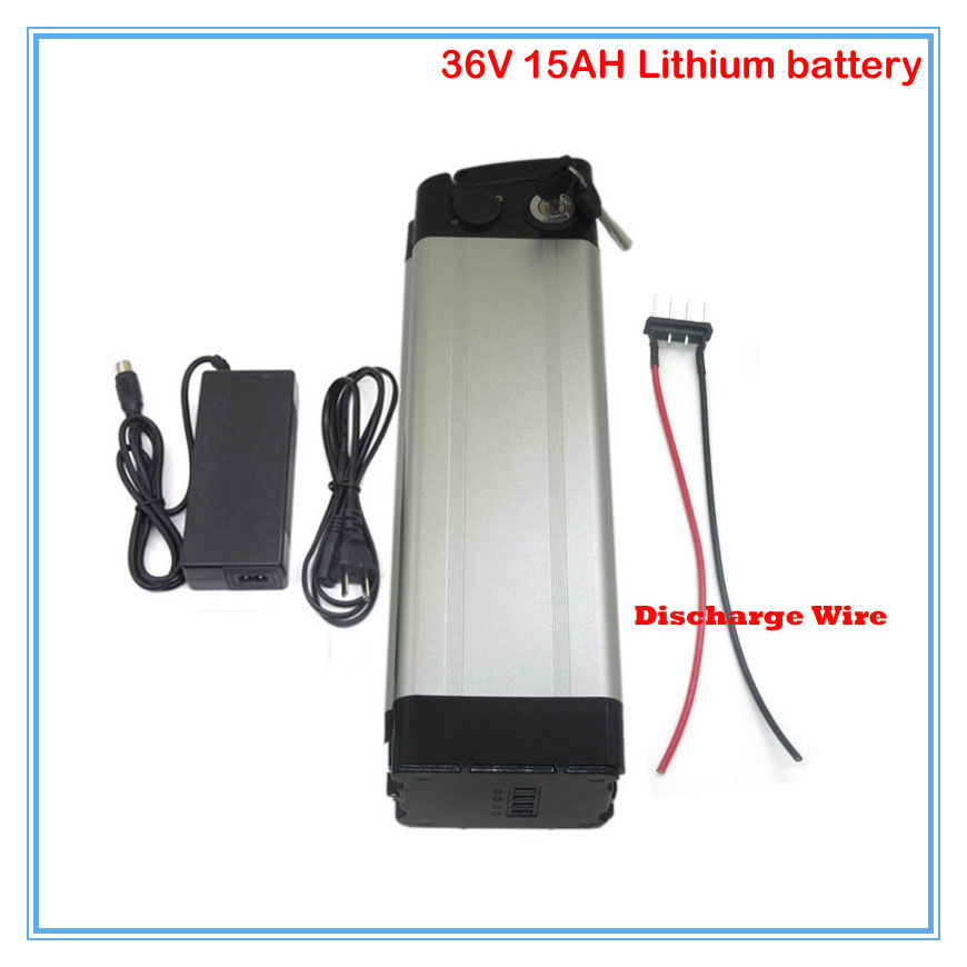 Power Source Inventive Bottom Discharge 36v Silver Fish Ebike Battery With Aluminum Case 36v 15ah Electric Bike Li-ion Battery With Charger Free Ship