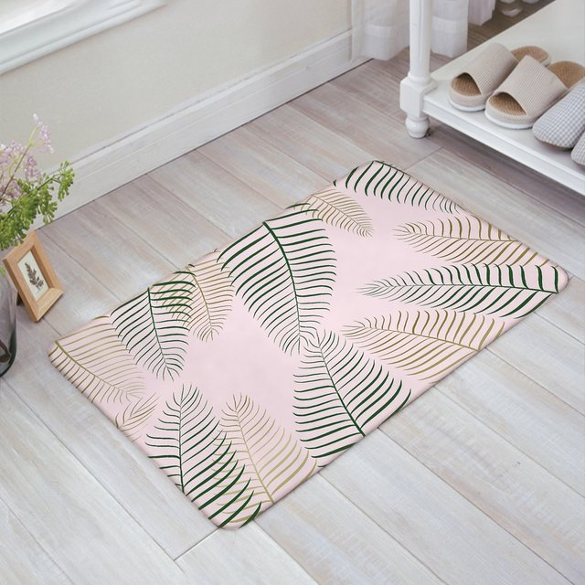 Charming Large Abstract Leaves Pink Doormat Entrance Mat Indoor/Outdoor Door Mats  Floor Mat Rug Mat