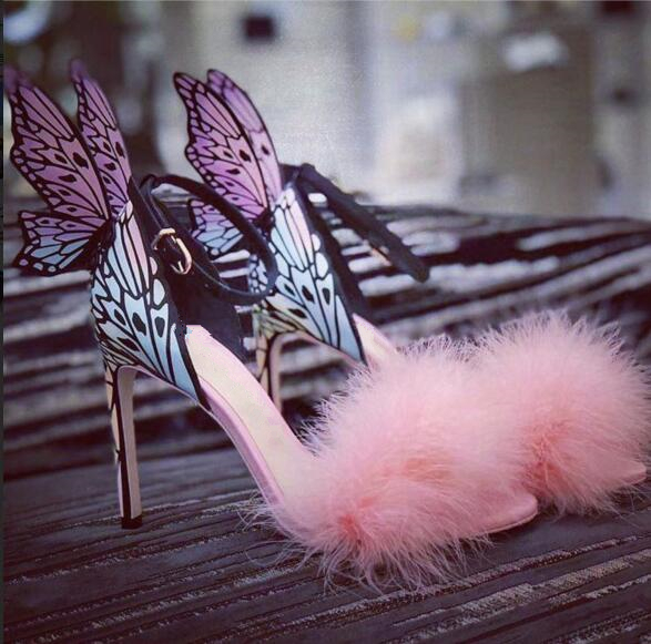 Summer New Fashion Pink Fur Women Open Toe Sandals Floral Butterfly Wing Back Ladies Sexy High Heels Wedding Shoes Dress Shoes