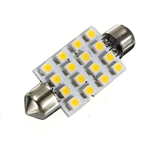 High Quality 42mm 16 LED 3528 1210 SMD Warm White Car Auto Interior Dome Festoon Lights Reading Map Lamp Bulb DC12V hot sale 31mm 12 led 3528 1210 smd festoon dome c5w car auto interior lights reading bulbs door lamp dc12v