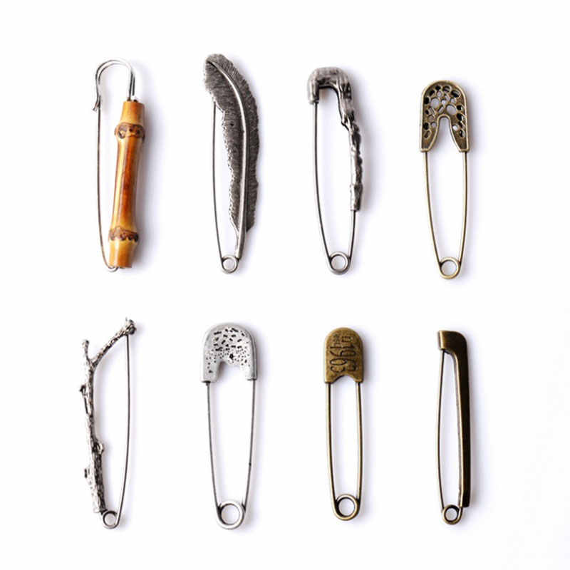 Brand Safety Brooches Pins Branch Antique Silver Color For Men Women Vintage Jewelry For Men Women 2x8cm