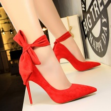 New Super High Heels Flock Slip-On Pointed Toe Pumps Shoes 2019 Spring Autumn Women 10.5CM Thin Heel Bow Office Lady Party Shoes
