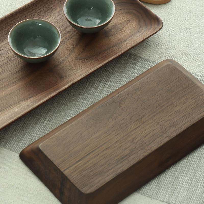 Plateau rectangulaire en bois de noyer noir | Plateau rectangulaire en bois de fruits assiette en bois, plateau de rangement amical, Kungfu plateau de service pour le thé - 3