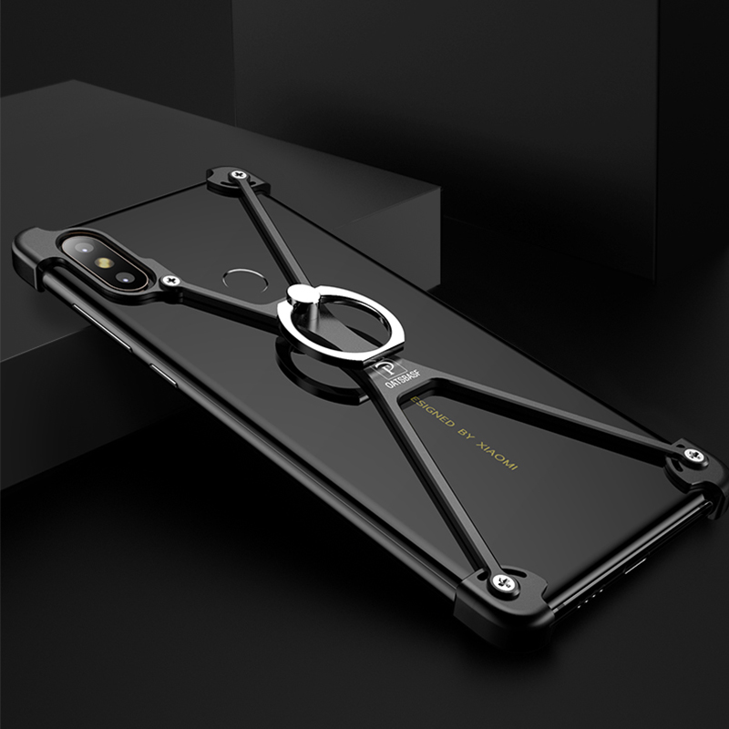 OATSBASF Airbag Metal Ring Holder Case For Xiaomi Mix 2S Case Personality Metal Bumper Cover Case for Xiaomi Mi Mix2S