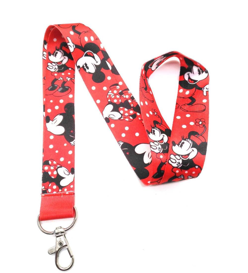 New 1 Pcs Cartoon Red Mickey Minnie Lanyard Neck Strap For Keys ID Card Mobile Phone Straps  Badge Holder VV- LL-3