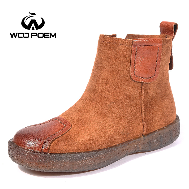 WooPoem Brand Winter Shoes Woman Genuine Leather Boots Low Flat Heel Ankle Boots Platform Short Boots Retro Women Boots 1197 woopoem brand winter shoes woman genuine leather boots low flat heel ankle boots rivet motorcycle boots retro women boots 510 l1
