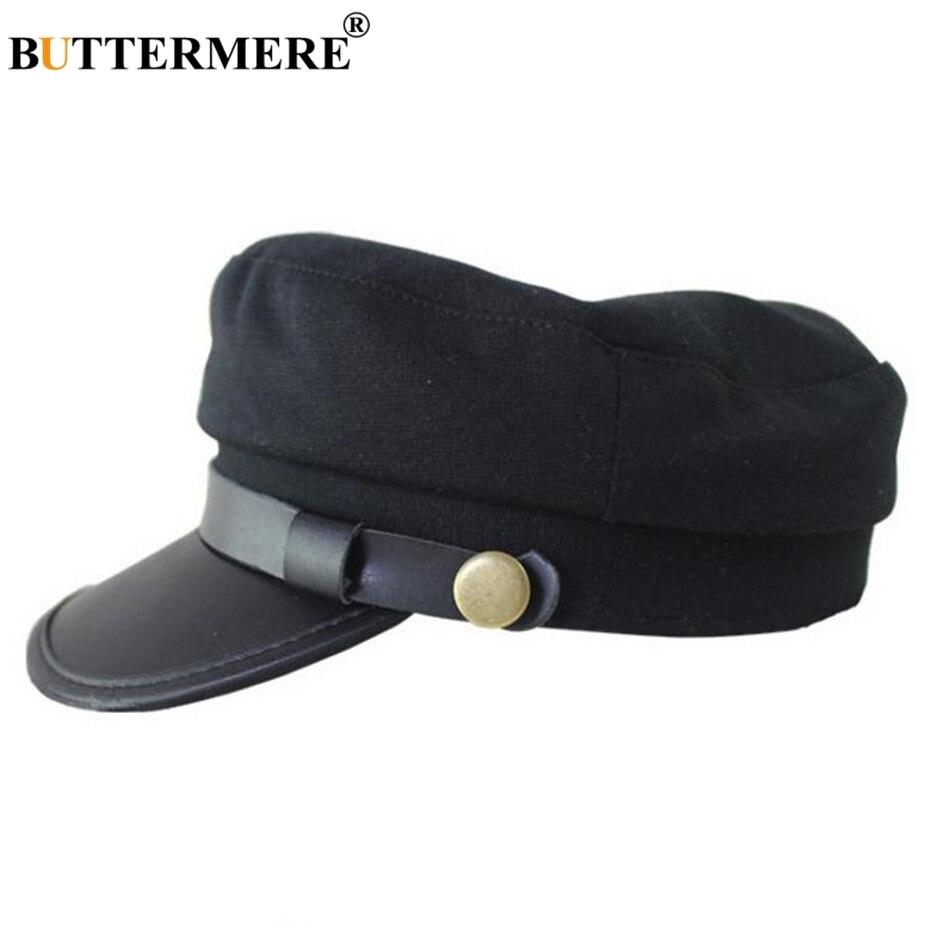 81e5cb6ac52 BUTTERMERE Black Leather Military Hat Women Army Cap Ladies Baker Boy Hat  Spring Autumn Duckbill Female Newsboy Flat Top Hat