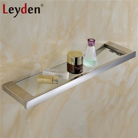 Leyden Hanging Glass Shelf Storage Modern Polished Chrome Square Wall Mounted Stainless Steel Glass Shelf Bathroom Accessories
