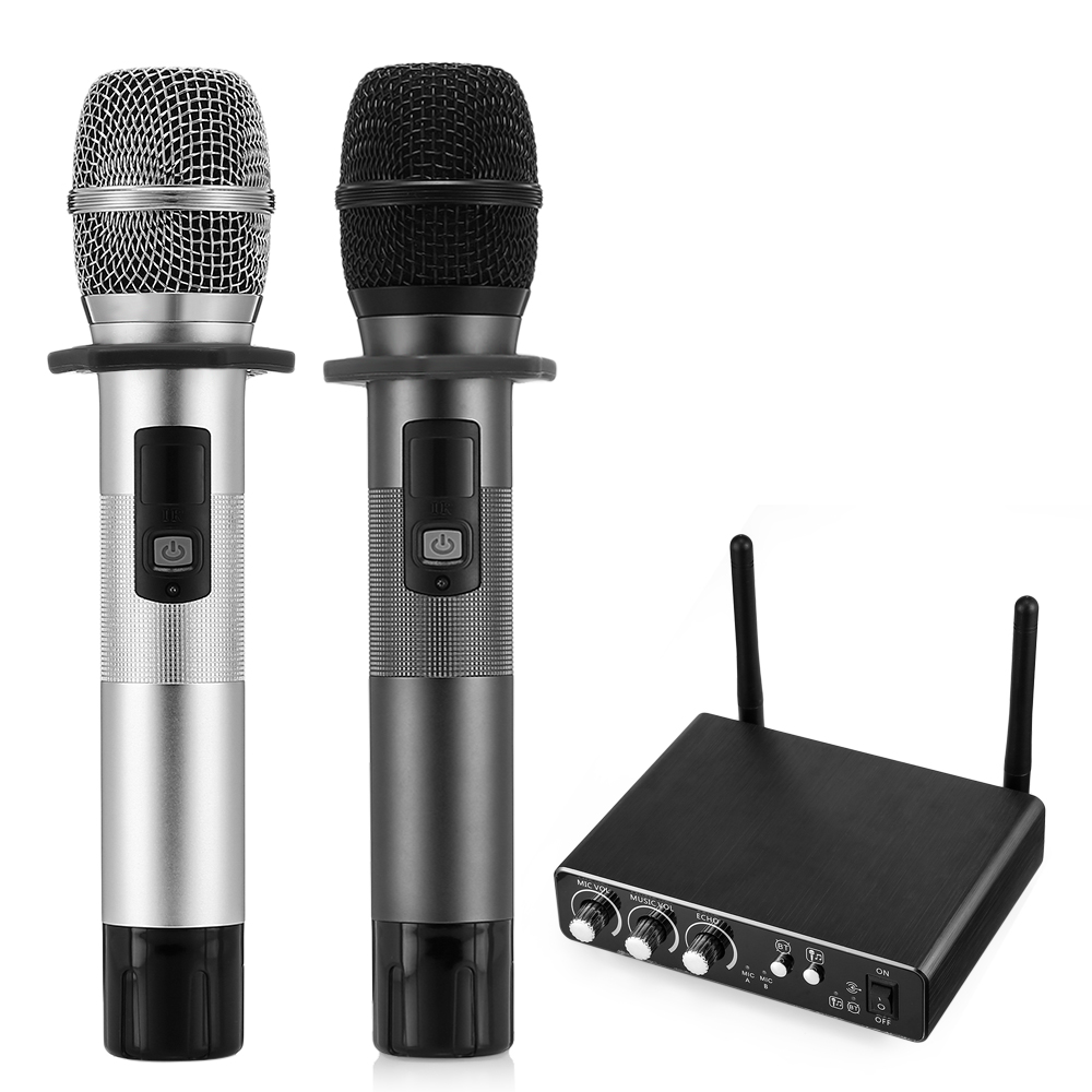 K28 Professional Wireless Microphone Karaoke App Two Handheld Microphone Echo With UHF For Music Playing Singing KTV Smartphone children microphone handheld karaoke microphone usb ktv player mic speaker kids toys for singing toy music playing