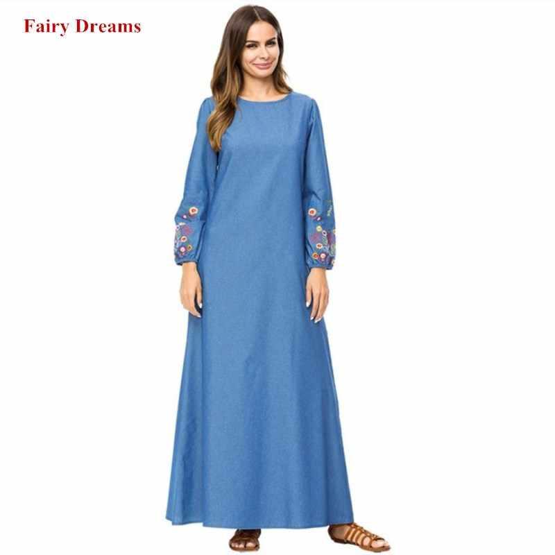 Мусульманское джинсовое платье Абая для женщин цветы вышивка платья мусульманская одежда для Дубай одежда Турецкий Плюс Размер Мода синий халат 2018
