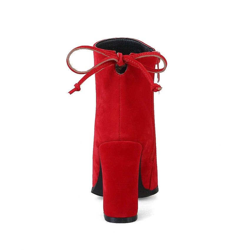 Talons De Peluche Hauts rouge Carré 2018 Esveva Western Dames Bottes Courte Pointu marron Femmes Zipper Bout Chaussures Noir D'hiver Cheville Troupeau À Mariage UxqgP
