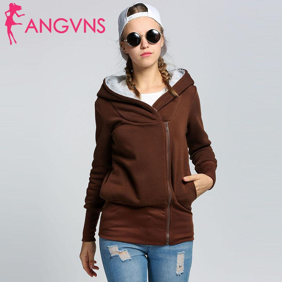 ANGVNS Autumn Winter Hoodies Female 2019 Brand Long Sleeve Solid Color Coat Women Loose Hooded Pocket Outerwear Women solid Coat