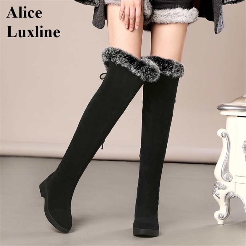New Winter 2016 Women Suede Sexy Fashion Over the Knee Boots increased Heel Boots Platform ladies Shoes Black Grey size 34-43 CA new women suede sexy fashion over the knee boots sexy high heel boots platform woman shoes black blue size 34 43