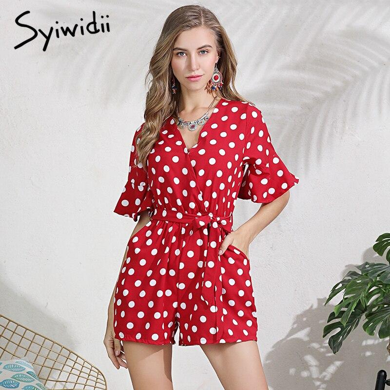 Women Polka Dot Belted   Jumpsuit   Playsuits Elegant Deep V Neck   Jumpsuit   Rompers Summer Flare Short Sleeve Pocket Red Playsuits