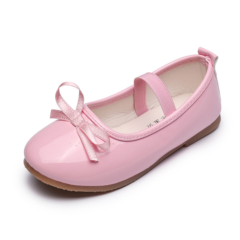 Single patent leather shoes with bows Childrens leather shoes Girl Princess dancing shoes Children soft-soled teenager Shoes