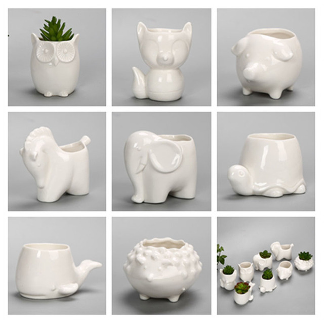 YeFine Creative Ceramic Flowerpot Planter Bonsai Garden Pots Planters Jardin Bonsai Desk Succulent Flower Pot Cute Animal Pots