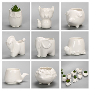Image 3 - YeFine творческий керамический цветочный горшок, горшок для бонсай, садовые горшки, сад, бонсай, стол цветочный горшок для суккулентных растений милый горшочки с животным