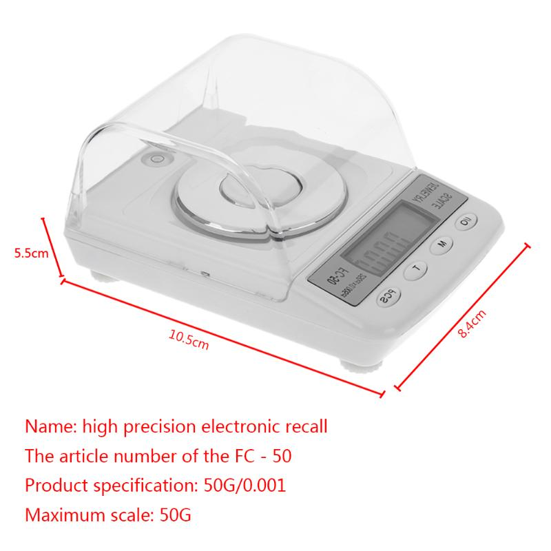 50g/0.001gMini High Accuracy Jewelry Scales Diamond Gold Germ Medicinal Pocket Electronic Digital Jewelry Scale Weight Weighting 600g 0 1g mini digital scales weight balance lcd electronic scale pocket precision jewelry gold diamond weight weighting scales