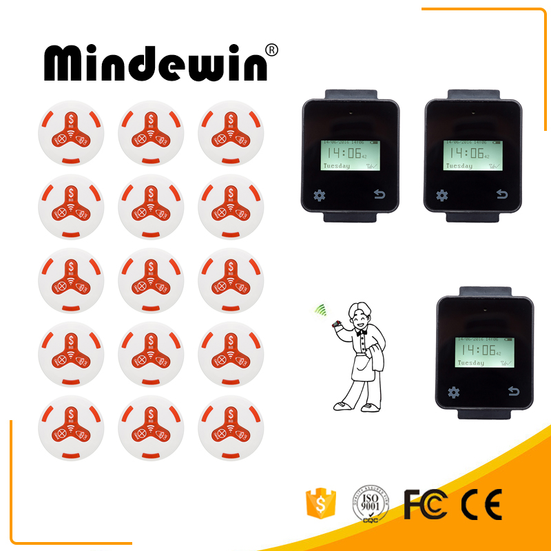 Mindewin Hot Sale Restaurant & Cafe Shop Wireless Calling Service System 15pcs White Calling Button + 3pcs Touch Watch Pager