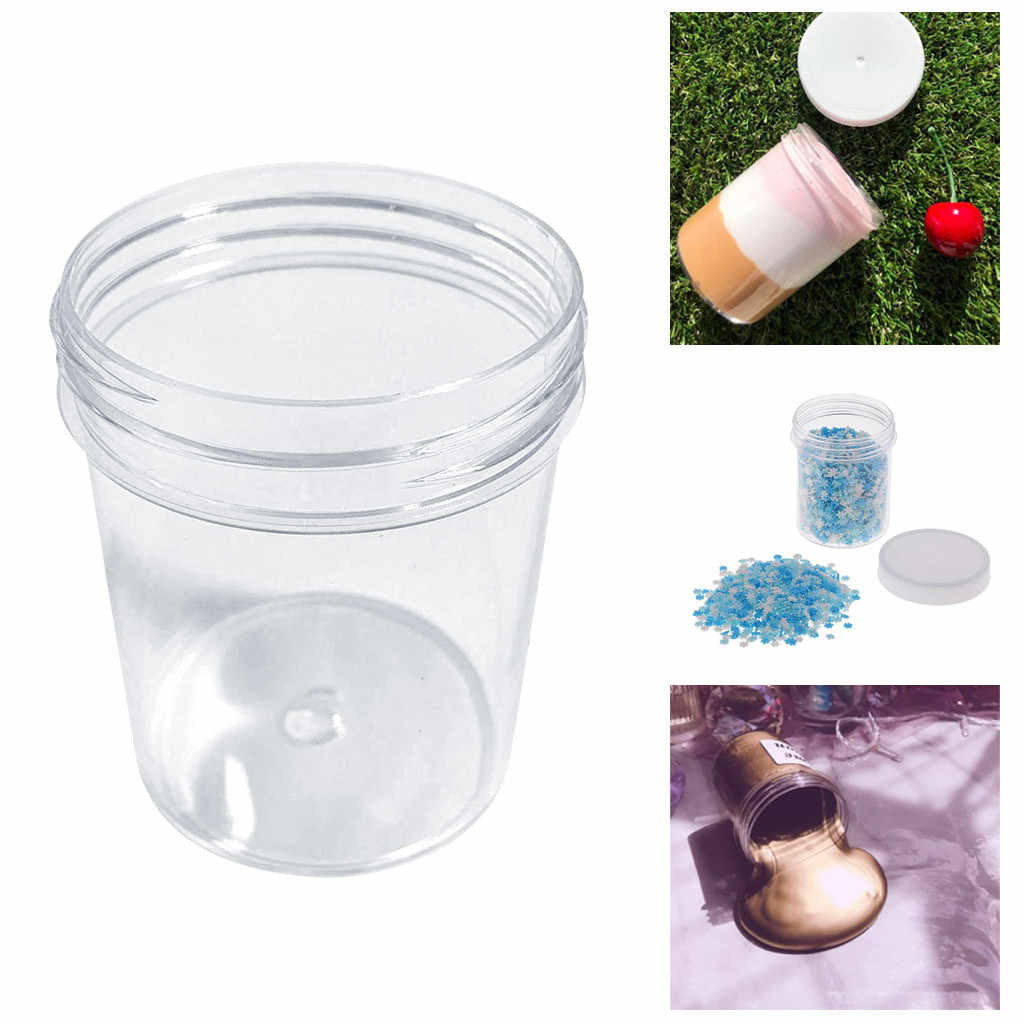 120ml Round Clear PET Container Jar Pot Bottle For DIY Playdough Slime Clay Makeup Cosmetic Cream Nail Box Square With Lid